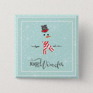 Magic and Wonder Christmas Snowman Mint ID440 Button