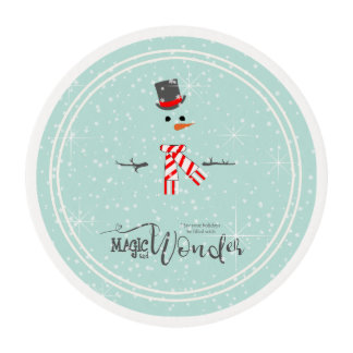 Magic and Wonder Christmas Snowman Mint ID440 Edible Frosting Rounds