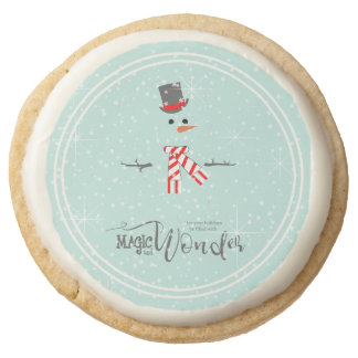 Magic and Wonder Christmas Snowman Mint ID440 Round Shortbread Cookie