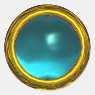 MAGIC AQUA BLUE AQUAMARINE GEM STONE GOLD YELLOW ROUND STICKERS