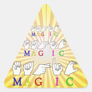 MAGIC  ASL FINGER SPELLED TRIANGLE STICKER