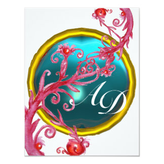 MAGIC BERRIES 4,MONOGRAM blue aquamarine Card