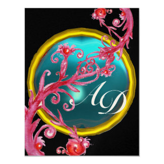 MAGIC BERRIES 4,MONOGRAM blue aquamarine gold Card