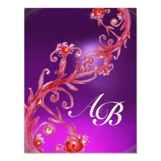MAGIC BERRIES 4,MONOGRAM red  amethyst gold Personalized Announcements