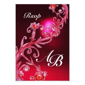 MAGIC BERRIES 4,MONOGRAM red burgundy rsvp Card