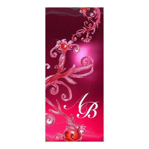 MAGIC BERRIES 4,MONOGRAM red ruby ice Personalized Invitation