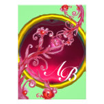 MAGIC BERRIES 4,MONOGRAM red ruby Personalized Invites