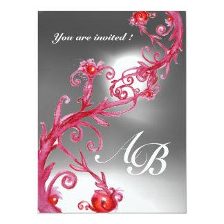 MAGIC BERRIES 4,MONOGRAM red white crystal 5.5x7.5 Paper Invitation Card