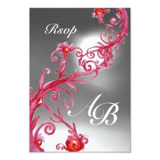 MAGIC BERRIES 4,MONOGRAM red white crystal rsvp Card