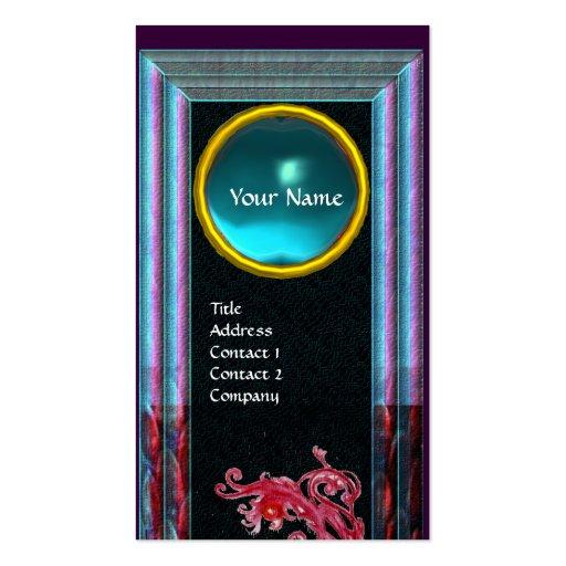 MAGIC BERRIES  BLUE AQUAMARINE GEM MONOGRAM Teal Business Card