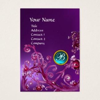 MAGIC BERRIES BLUE GEM MONOGRAM amethyst purple Business Card