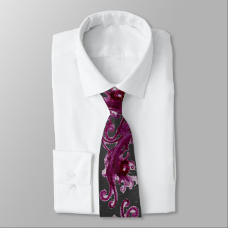 MAGIC BERRIES Fantasy Grey Purple Red Floral Swirl Neck Tie