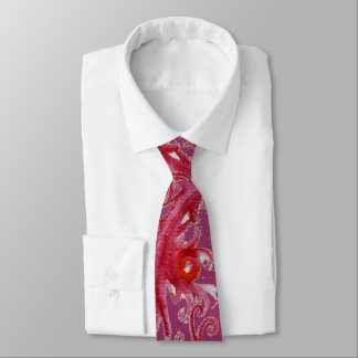 MAGIC BERRIES Fantasy Purple Red Pink Floral Swirl Neck Tie