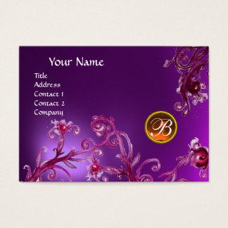 MAGIC BERRIES MONOGRAM,amethyst purple orange Business Card