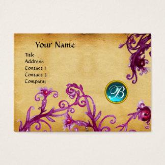 MAGIC BERRIES MONOGRAM,aquamarine blue parchment Business Card