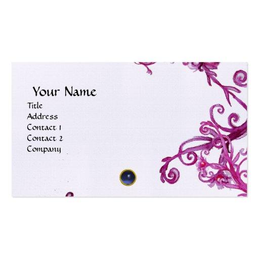 MAGIC BERRIES  MONOGRAM gem blue linen Business Card