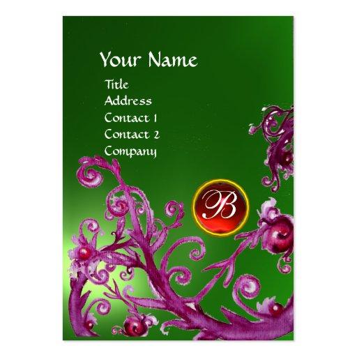 MAGIC BERRIES MONOGRAM GEM emerald green red Business Card