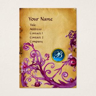 MAGIC BERRIES MONOGRAM GEM parchment blue Business Card
