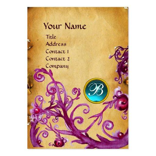 MAGIC BERRIES MONOGRAM GEM parchment light blue Business Card