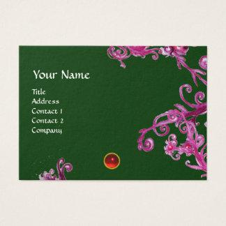 MAGIC BERRIES  MONOGRAM gem red green purple swirl Business Card