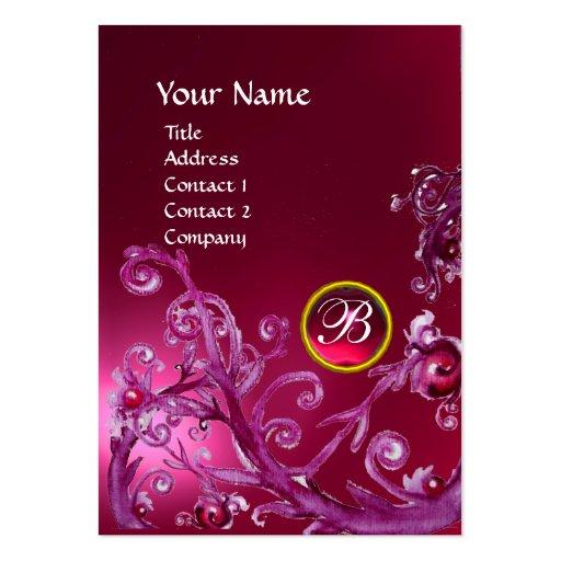 MAGIC BERRIES MONOGRAM GEM ruby pink Business Card Template