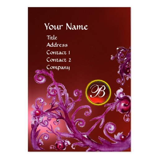 MAGIC BERRIES MONOGRAM GEM ruby red Business Card Template