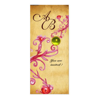 MAGIC BERRIES  MONOGRAM  parchment gem yellow Card