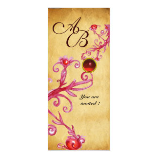 MAGIC BERRIES  MONOGRAM  Parchment Red Ruby Card