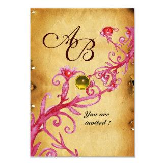 MAGIC BERRIES  MONOGRAM  Parchment Yellow rsvp Card