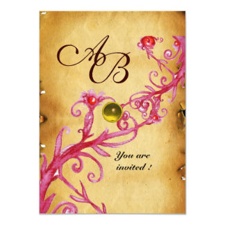 MAGIC BERRIES  MONOGRAM  Parchment Yellow rsvp Card
