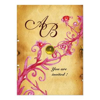 MAGIC BERRIES  MONOGRAM  Parchment Yellow topaz 5.5x7.5 Paper Invitation Card