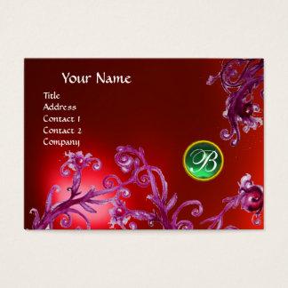 MAGIC BERRIES MONOGRAM, ruby red orange Business Card