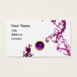 MAGIC BERRIES  MONOGRAM  swirl gem purple  white Business Card