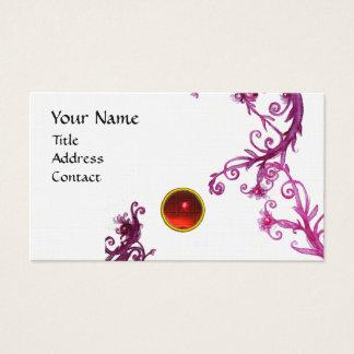 MAGIC BERRIES  MONOGRAM  swirl gem red linen Business Card
