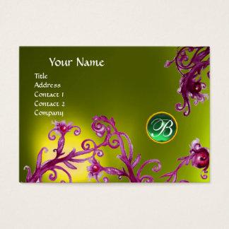 MAGIC BERRIES MONOGRAM,  topaz yellow green Business Card