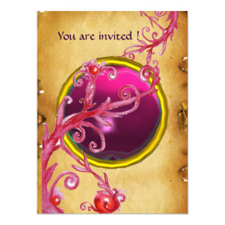 MAGIC BERRIES PARCHEMENT GEM red ruby Card
