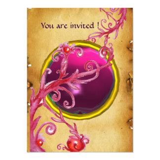 MAGIC BERRIES PARCHEMENT GEM red ruby 5.5x7.5 Paper Invitation Card