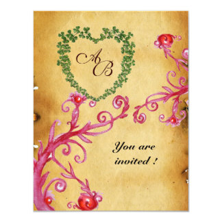 MAGIC BERRIES SHAMROCK HEART MONOGRAM  parchment Personalized Invitation