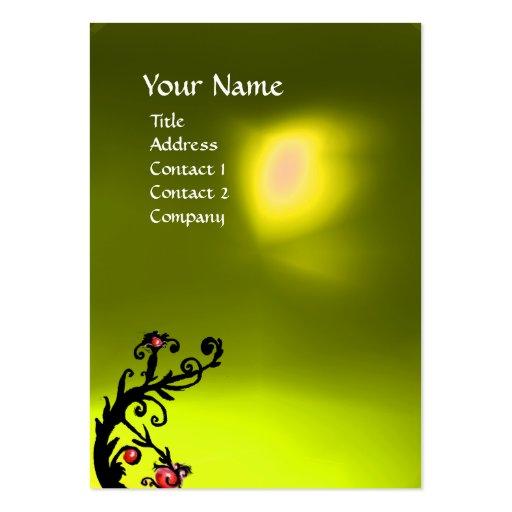 MAGIC BERRIES YELLOW TOPAZ GEM MONOGRAM red black Business Card Templates