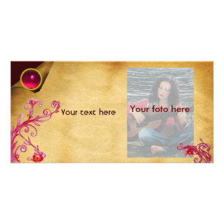 MAGIC BERRY parchment gem pink Custom Photo Card
