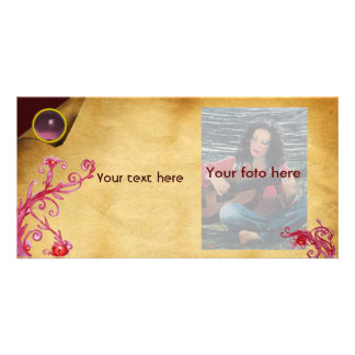 MAGIC BERRY parchment gem pink Photo Greeting Card