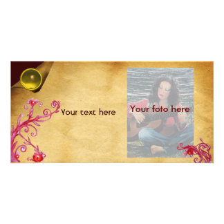 MAGIC BERRY parchment gem yellow Photo Greeting Card