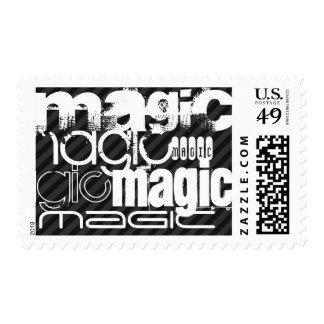 Magic; Black & Dark Gray Stripes Postage