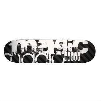 Magic; Black & Dark Gray Stripes Skateboard