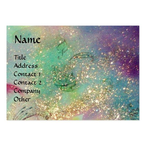 MAGIC BUTTERFLY Blue Green Yellow Gold Sparkles Large Business Cards (Pack Of 100)