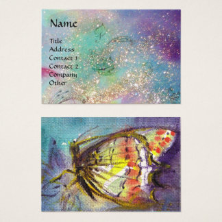 MAGIC BUTTERFLY Blue Green Yellow Gold Sparkles Business Card