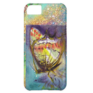 MAGIC BUTTERFLY IN BLUE GOLD SPARKLES iPhone 5C CASE