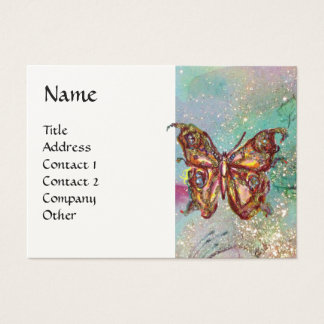 MAGIC BUTTERFLY IN GOLD AND BLUE SPARKLES BUSINESS CARD