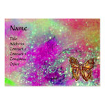 MAGIC BUTTERFLY IN GOLD,BLUE PURPLE TEAL SPARKLES BUSINESS CARDS