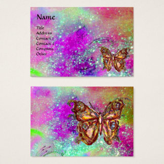 MAGIC BUTTERFLY IN GOLD,BLUE PURPLE TEAL SPARKLES BUSINESS CARD